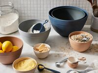 Sustainable bamboo mixing bowls on kitchen counter
