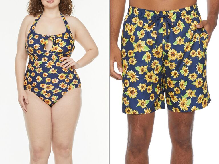 Collage of woman wearing sunflower print bathing suit and man wearing sunflower print trunks