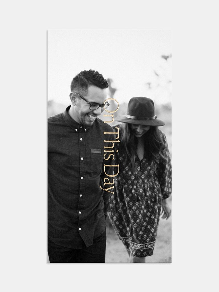 Grayscale personalized photo background with 'On this day' written vertically in gold type