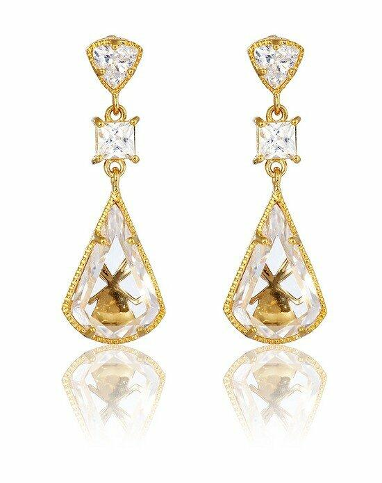 Thomas Laine Lucille Drop Earrings - Yellow Gold Wedding Earrings photo
