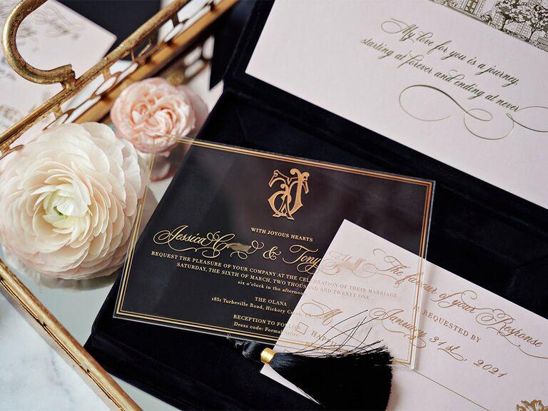 Event details in gold calligraphy with monogram detail on acrylic inside black velvet box