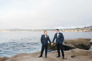 Matching Midnight-Blue and Black Tuxedos