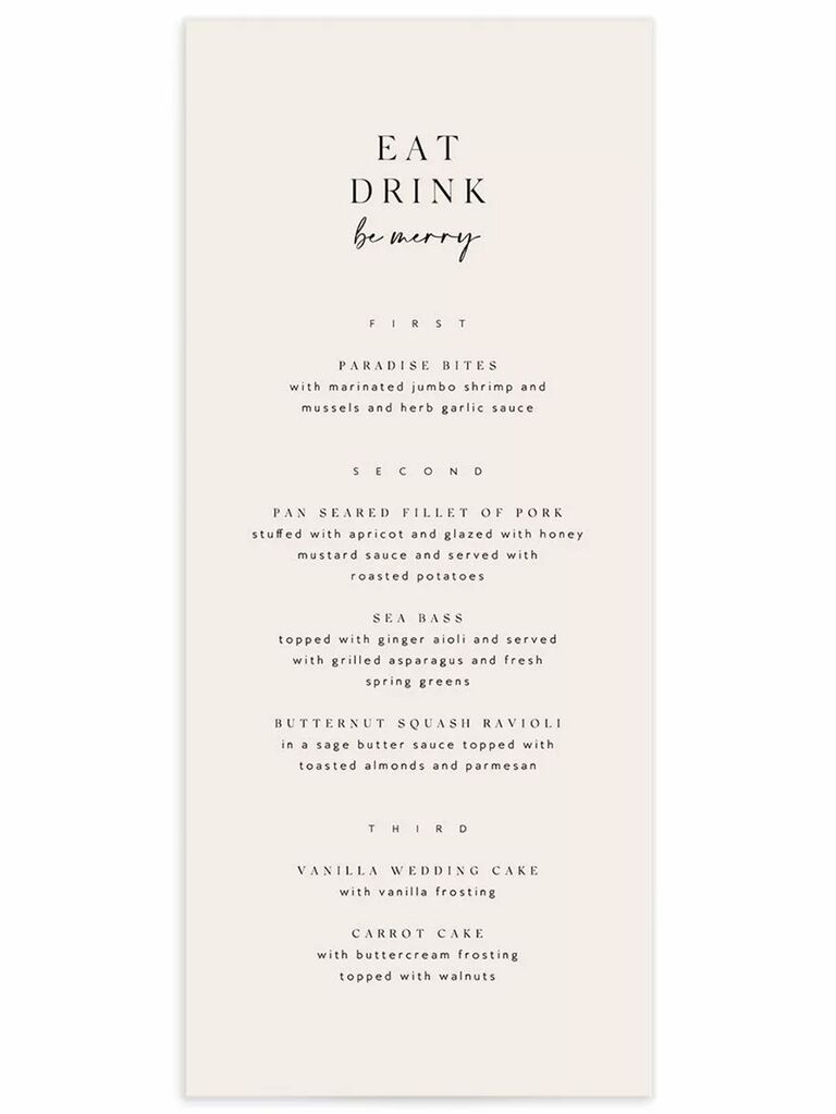 'Eat, Drink, be merry' above menu items in minimalist black serif type on blush background