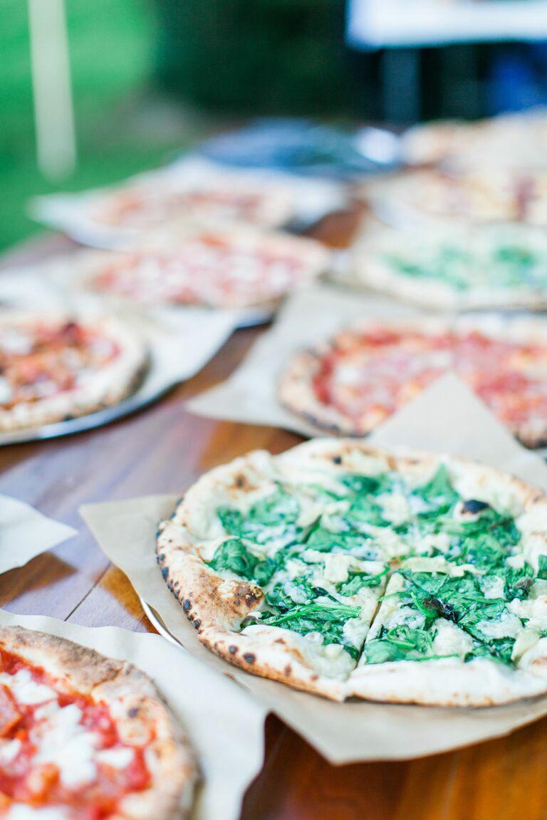 Pizza buffet at wedding reception