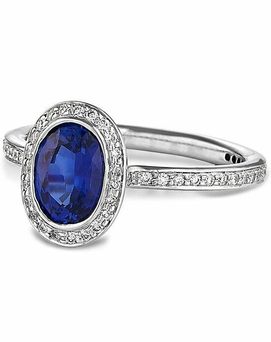 Ritani Oval Blue Sapphire Diamond Halo Engagement Ring in Platinum (0.33 CTW) Engagement Ring photo