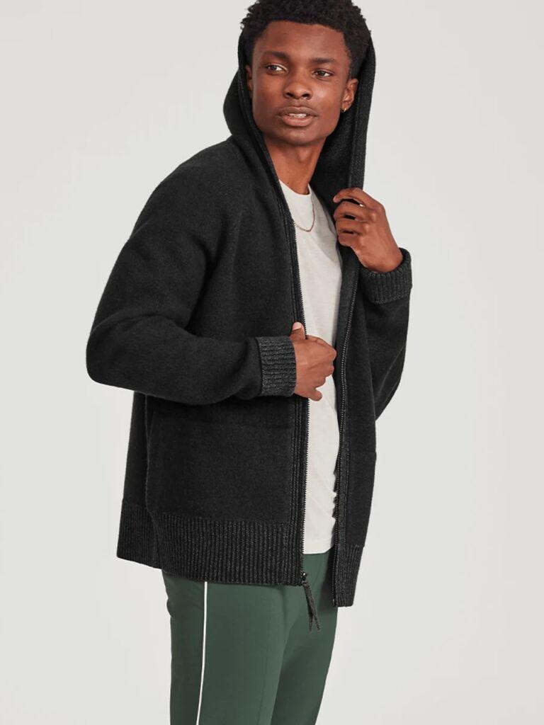 Model wearing charcoal wool hoodie seventh anniversary gift idea
