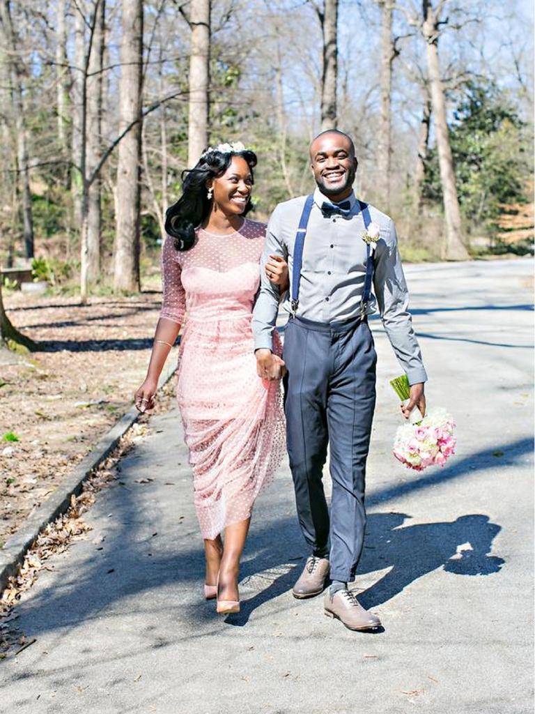 pink wedding dress with swiss dot details