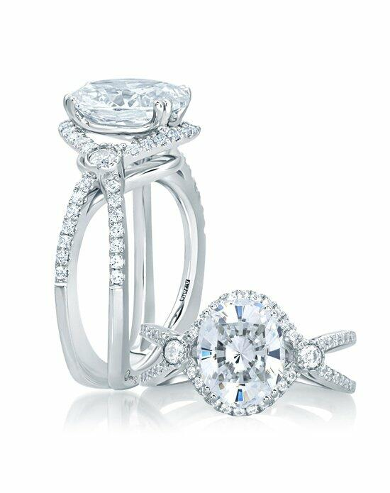 A.JAFFE Deco Double Shank Bubble Prong Engagement Ring with Oval Center Diamond, MES648 Engagement Ring photo