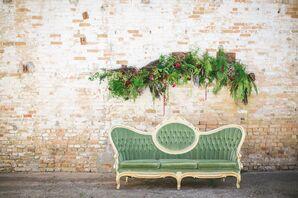 Sage-Green Vintage Lounge Furniture with Floral Swag