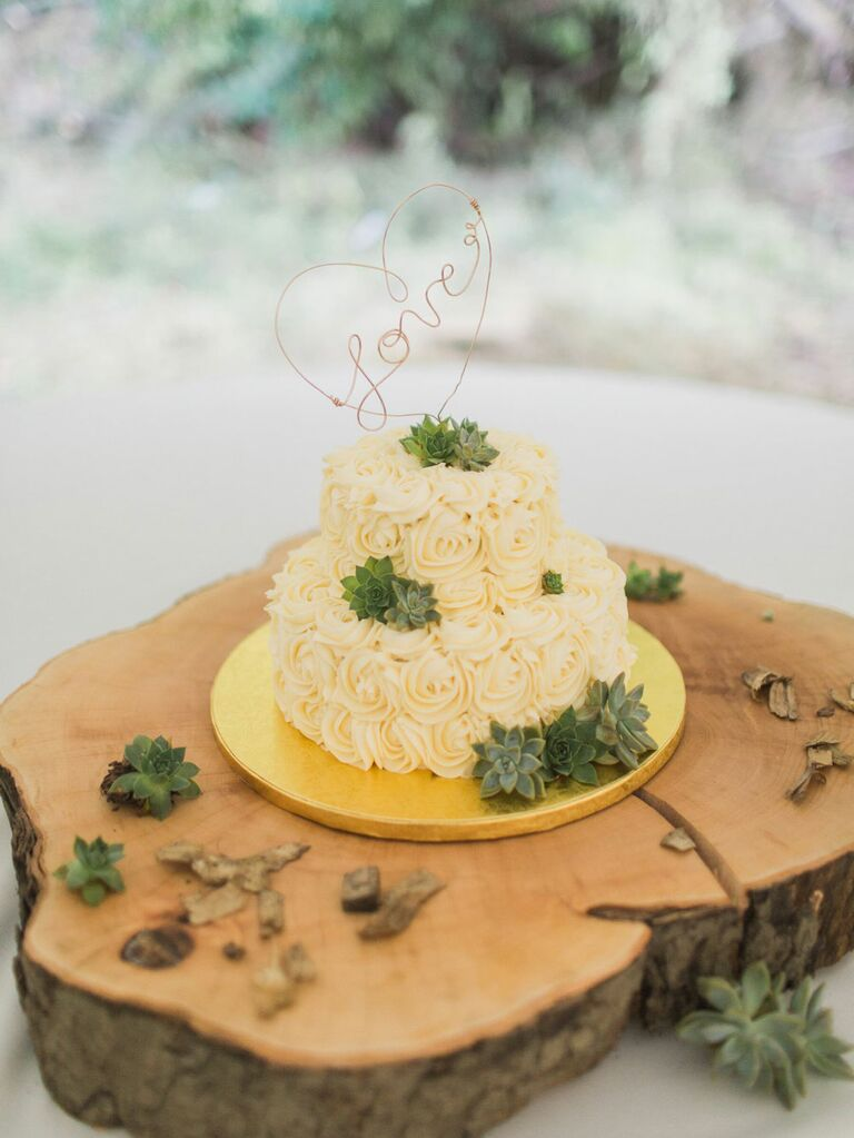 Two-tier rustic wedding cake with yellow rosette frosting, green succulents and rose gold wire caketopper