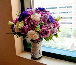 Purple Rose and Iris Bridal Bouquet