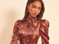 high neck satin dress with puff sleeves