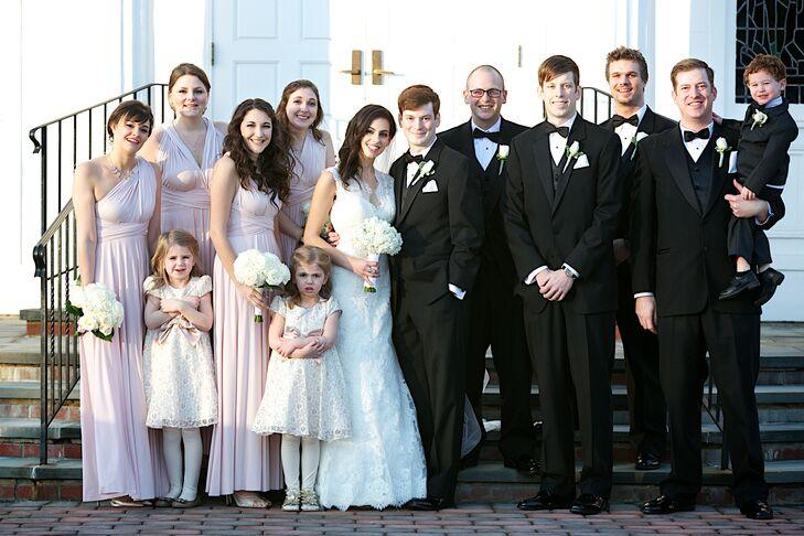 Formal Blush Bridesmaid Dresses and Black Tuxedos