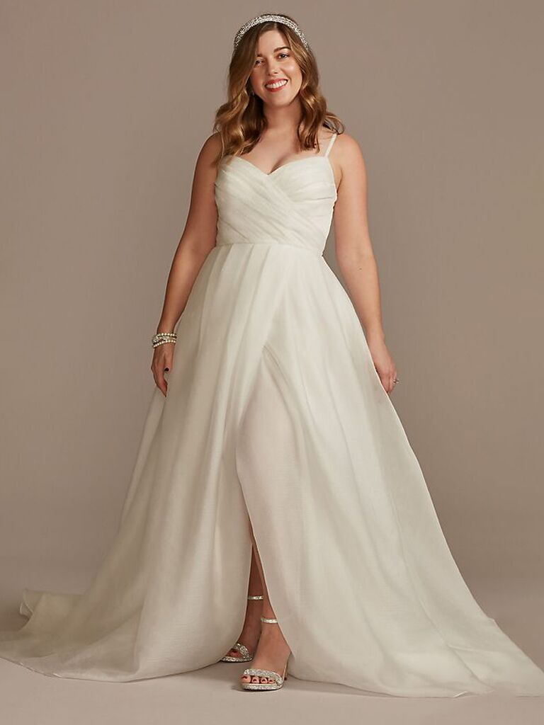 david's bridal off white a line wedding dress with sweetheart neckline tulle flowy skirt and slit