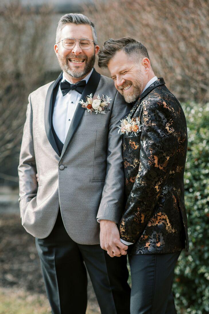 Same-Sex Couple in Tuxedos for Wedding at the Everhart Museum in Scranton, Pennsylvania