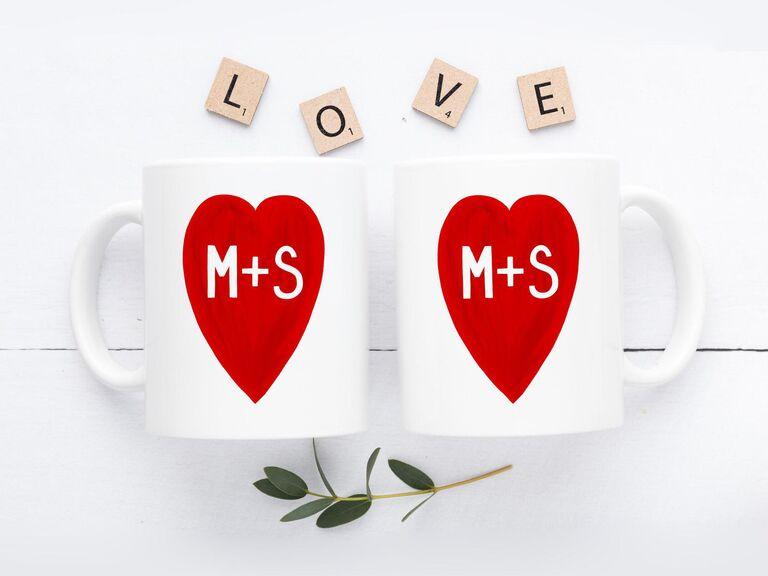 Matching love heart coffee mugs gift for boyfriend/girlfriend's parents