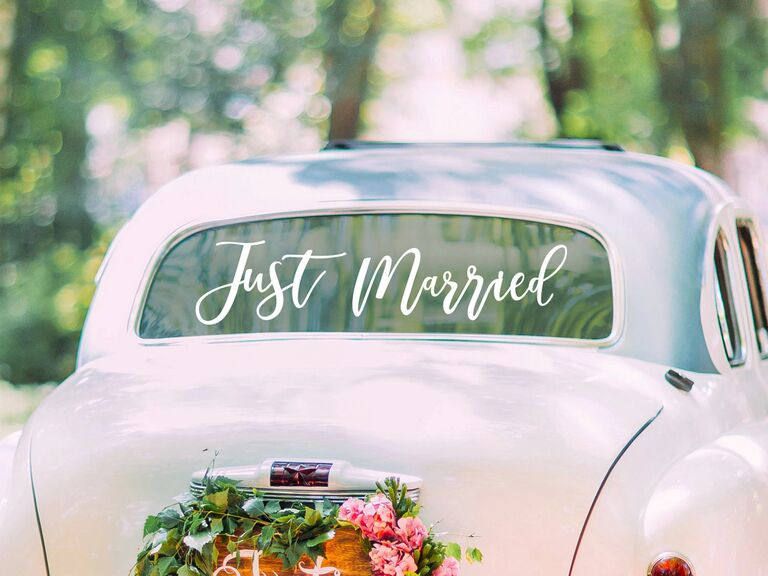 Just married sticker for car window