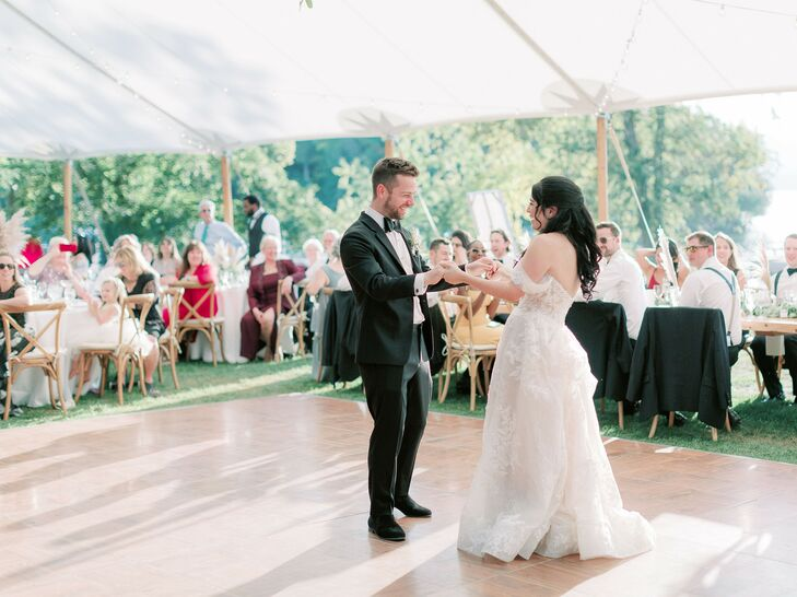 First Dance During Reception at Basin Harbor Club in Vergennes, Vermont