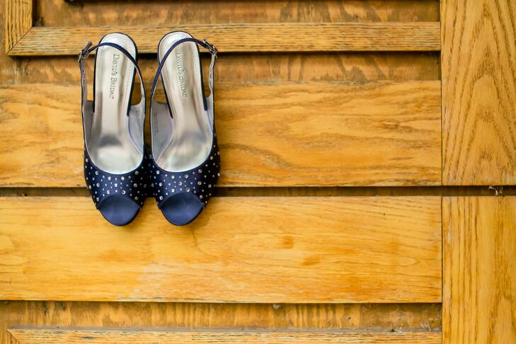 Dawn wore navy peep-toe heels with rhinestone embellishments that she bought at David's Bridal.