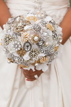 Silver and Gold Brooch Bouquet