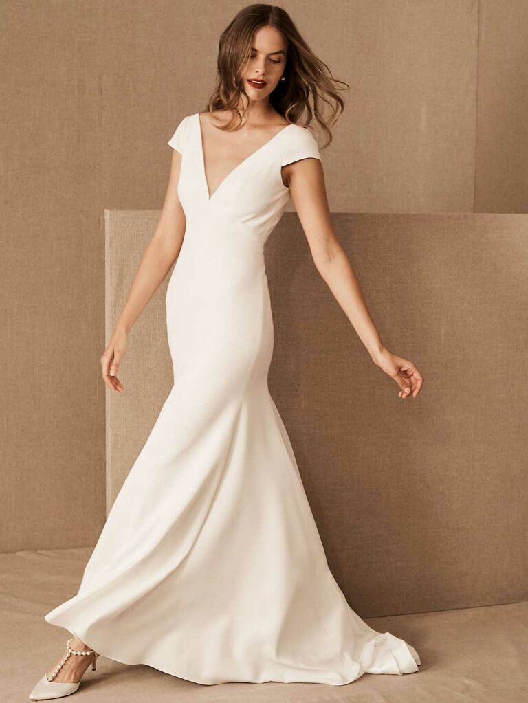 Cap sleeve fit-and-flare simple wedding dress with V-neckline