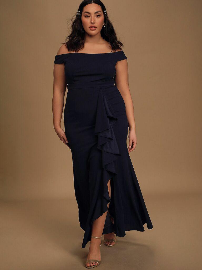 navy blue ruffled off-the-shoulder maxi dress