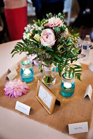 Shabby Chic Reception Table Centerpieces