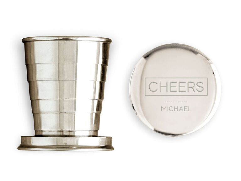 the knot shop silver collapsible shot glass for bachelor party favors