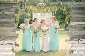 Long, Mint Chiffon Bridesmaid Dresses