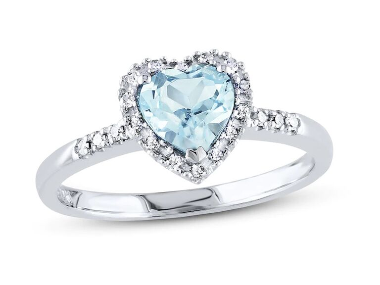 kay jewelers heart aquamarine engagement ring with diamonds and sterling silver band
