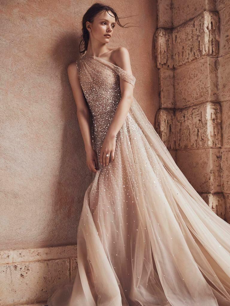 Monique Lhuillier Spring 2020 Bridal Collection asymmetrical draped off-white wedding dress