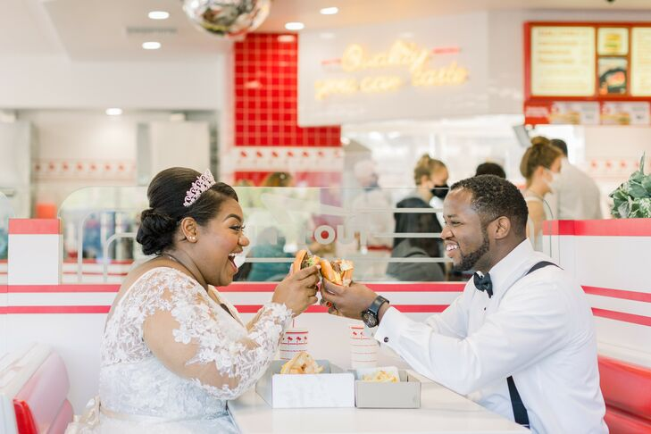 Couple Sharing Burgers at In-N-Out in Newport Beach, California