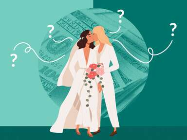 illustration of two brides kissing with money background