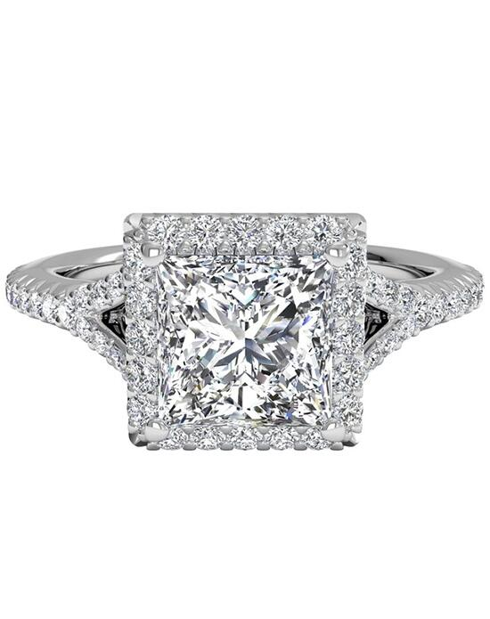 Ritani French-Set Halo Diamond 'V' Band Engagement Ring - in 14kt White Gold (0.23 CTW) for a Princess Center Stone Engagement Ring photo
