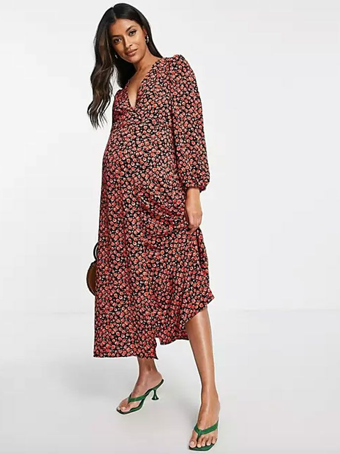 Dark red floral print maternity wedding guest dress for fall