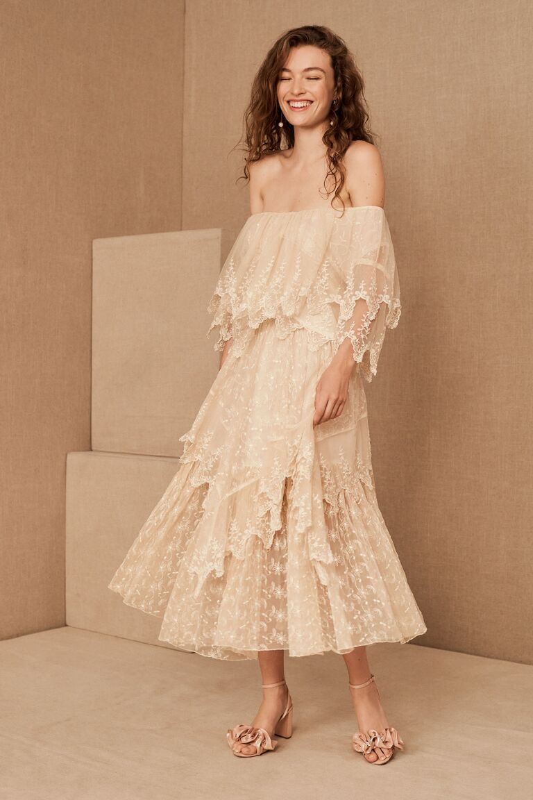 Vintage two-piece lace off-the-shoulder skirt and top set