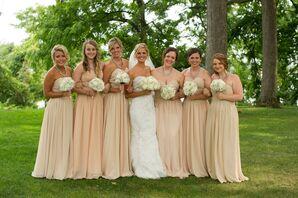 Long, Tan Strapless Bridesmaid Dresses