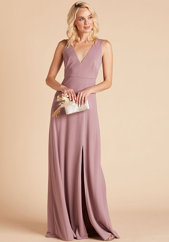 Birdy Grey Shamin Crepe Dress in Dark Mauve V-Neck Bridesmaid Dress