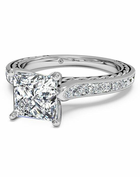 Ritani Princess Cut Micropave Braided Diamond Band Engagement Ring with Milgrain Finish in Platinum (0.25 CTW) Engagement Ring photo