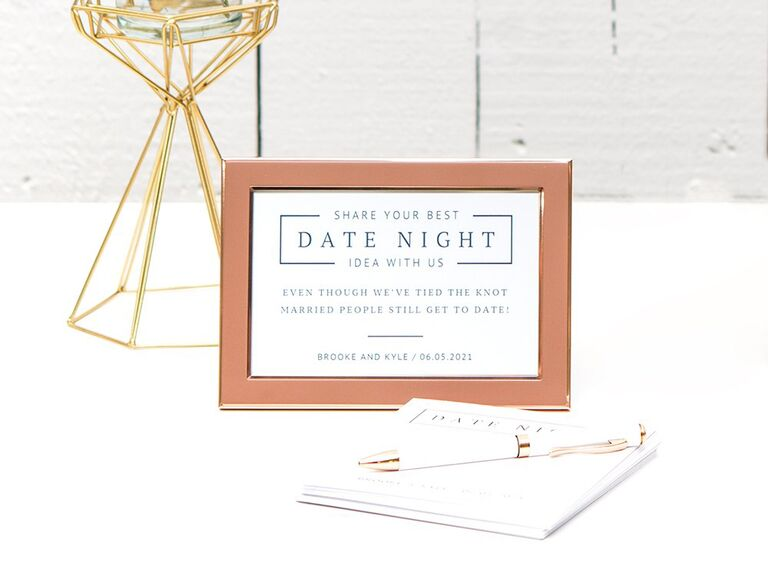 'Share your best date night idea with us' in minimal type in bronze frame