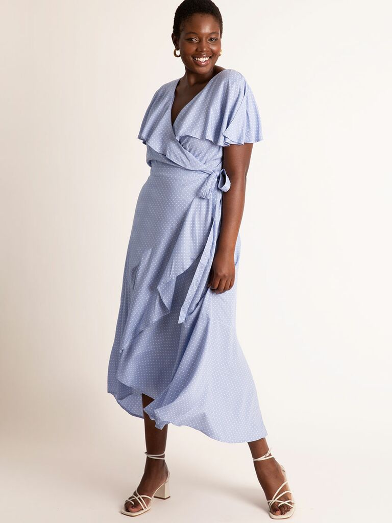 Blue flare wrap dress with ruffled sleeves