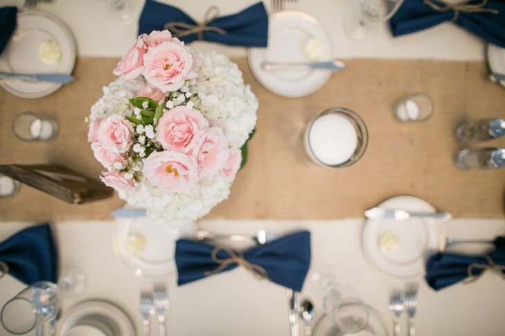 Pink and Ivory Centerpiece on Burlap