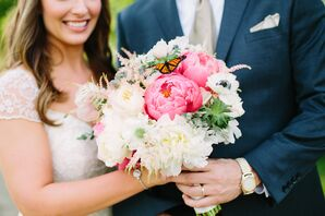 Whimsical Pink and Ivory Peony Bridal Bouquet