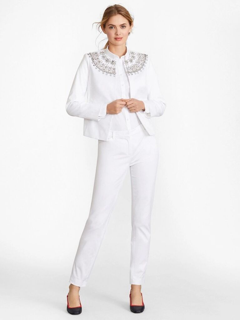 brooks brothers white mother of the bride pant suit with jewels