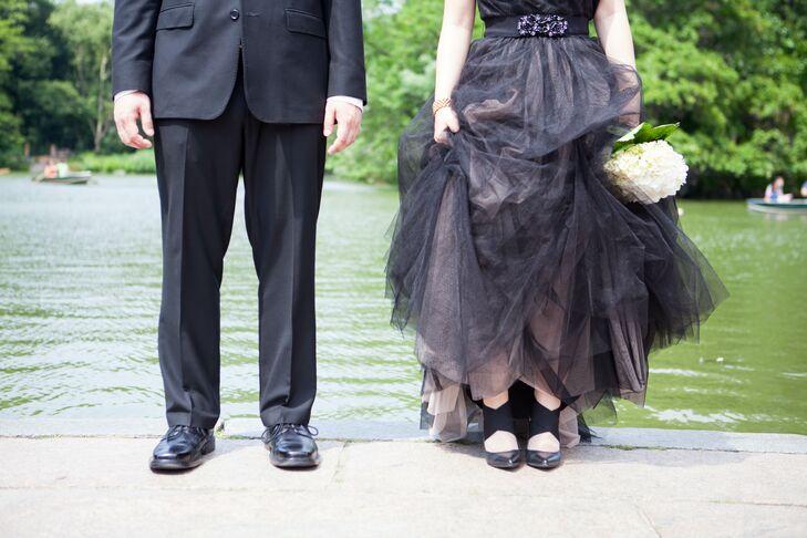 Black Wedding Shoes and Wedding Dress