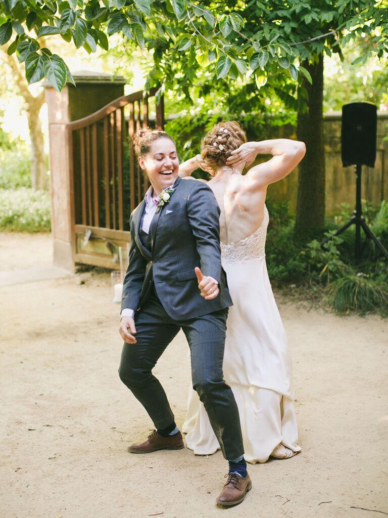 Same sex couple first dance at wedding reception
