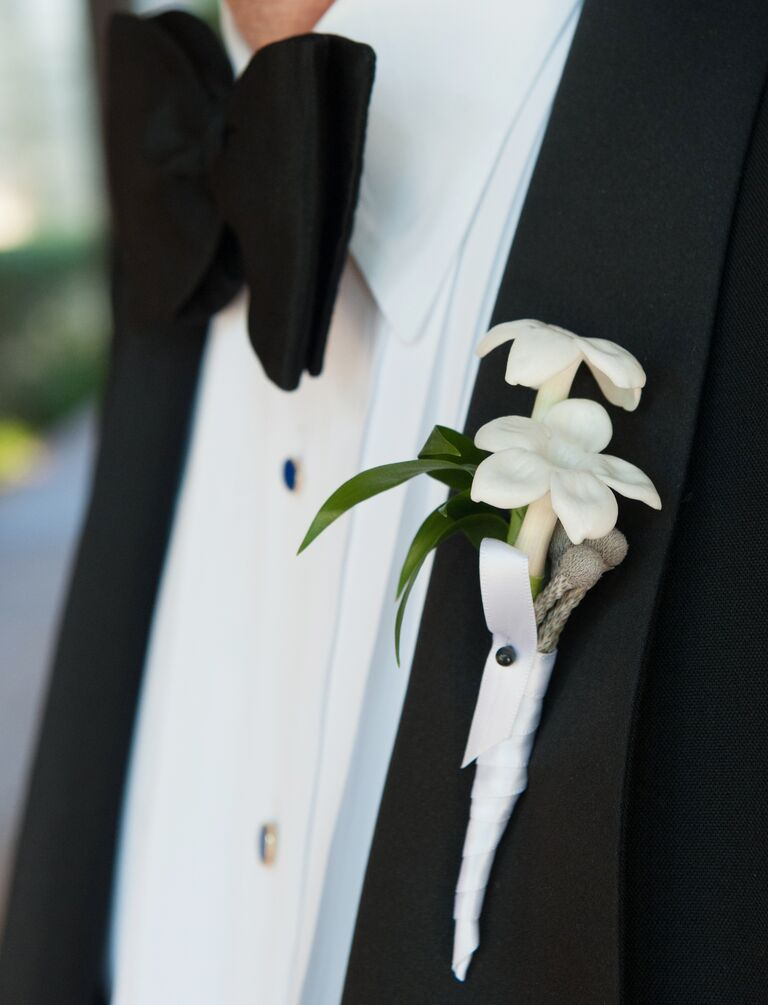 White stephanotis boutonniere