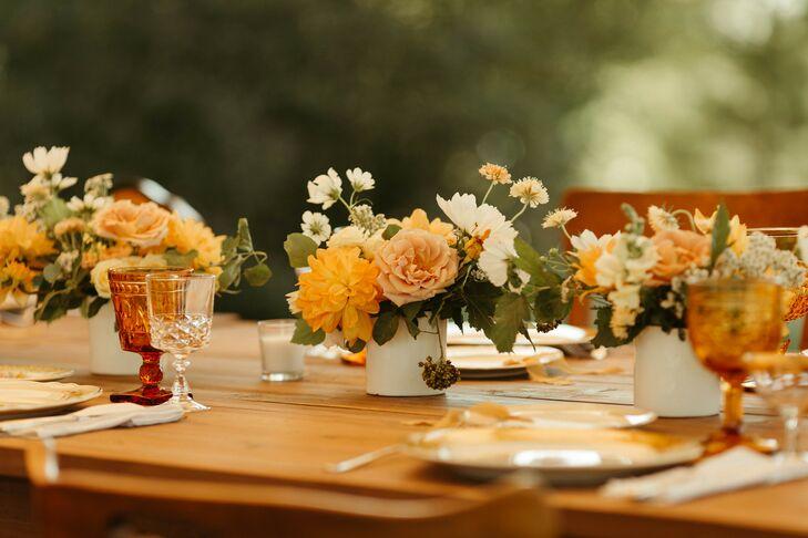 Wildflower-Inspired Orange Centerpieces With Marigolds
