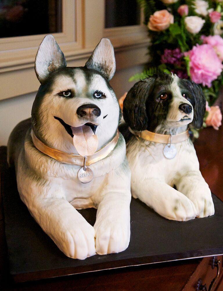 Custom dog-shaped groom's cake designs