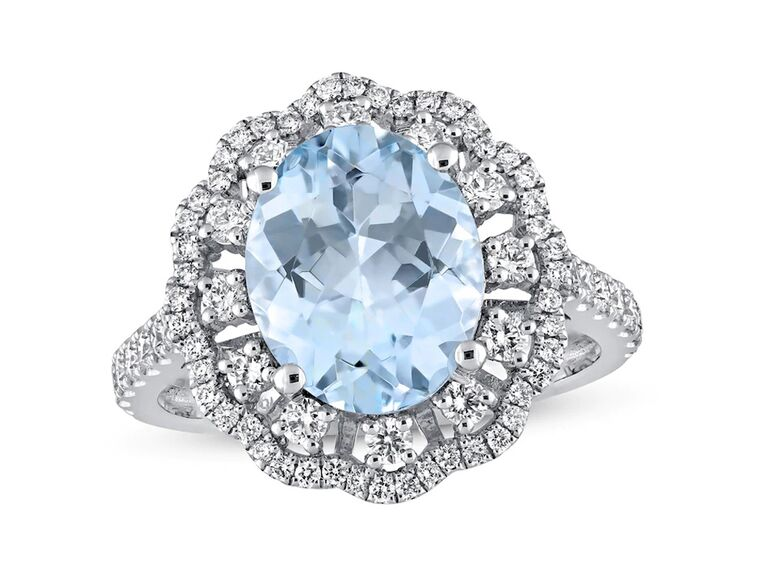 jared oval aquamarine engagement ring with diamonds and white gold band